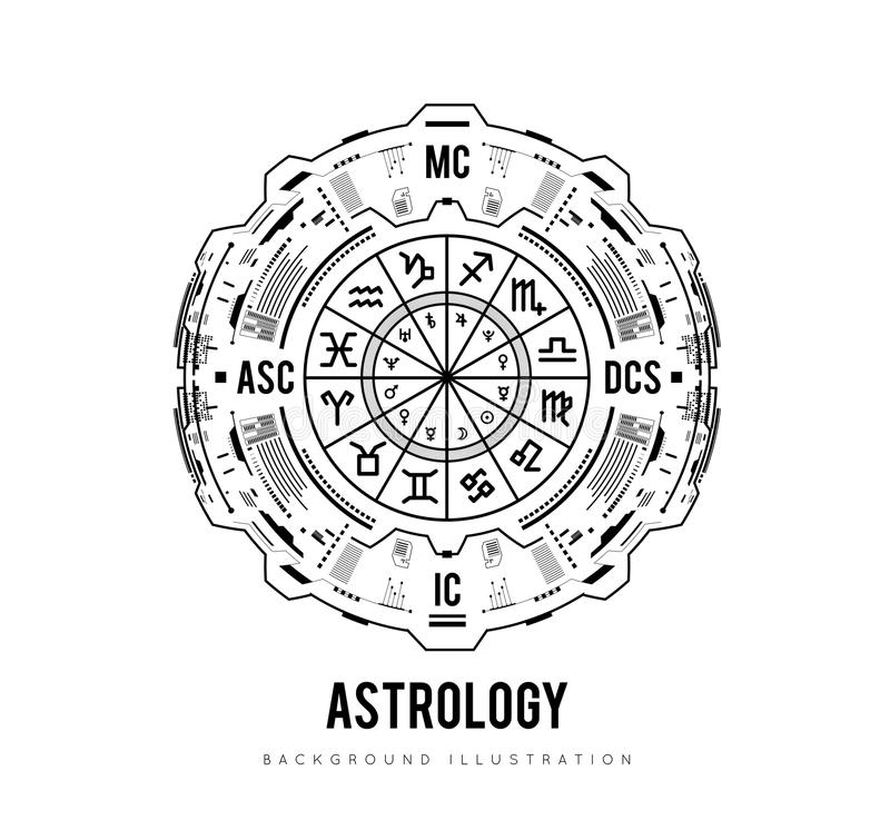 Υπόβαθρο αστρολογίας Το γενέθλιο διάγραμμα, zodiac σημάδια, στεγάζει και significators Φουτουριστικό σχέδιο διεπαφών HUD διάνυσμα διανυσματική απεικόνιση