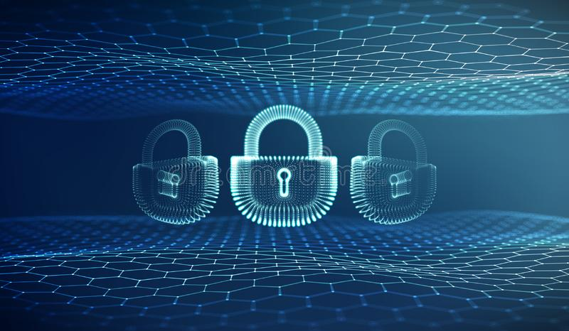Υπόβαθρο ασφάλειας Διαδικτύου Coputer cyber Διανυσματική απεικόνιση εγκλήματος Cyber ψηφιακό κλείδωμα απεικόνιση αποθεμάτων