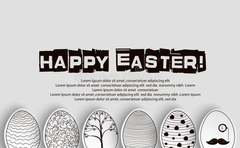 Υπόβαθρο αυγών Πάσχας με το χρωματίζοντας βιβλίο σχεδίων σε γραπτό διανυσματική απεικόνιση