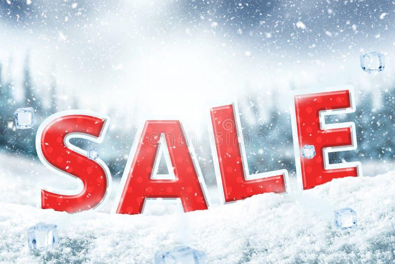 Υπόβαθρο αφισών χειμερινής πώλησης Έμβλημα Χριστουγέννων για την έκπτωση το προϊόν σας στοκ εικόνα με δικαίωμα ελεύθερης χρήσης