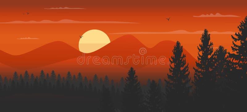 Υπόβαθρο βουνών ηλιοβασιλέματος ελεύθερη απεικόνιση δικαιώματος