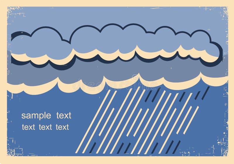 Υπόβαθρο βροχής Εκλεκτής ποιότητας αφίσα με τα σκοτεινά βρέχοντας σύννεφα διανυσματική απεικόνιση