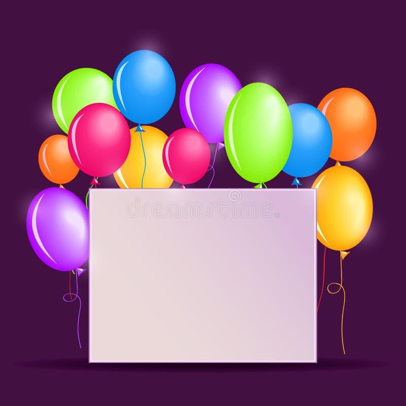 Υπόβαθρο γενεθλίων με τα ζωηρόχρωμα μπαλόνια απεικόνιση αποθεμάτων