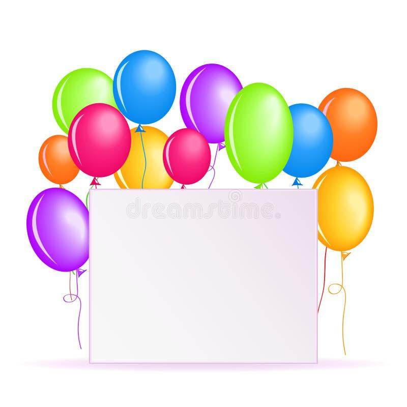 Υπόβαθρο γενεθλίων με τα ζωηρόχρωμα μπαλόνια ελεύθερη απεικόνιση δικαιώματος