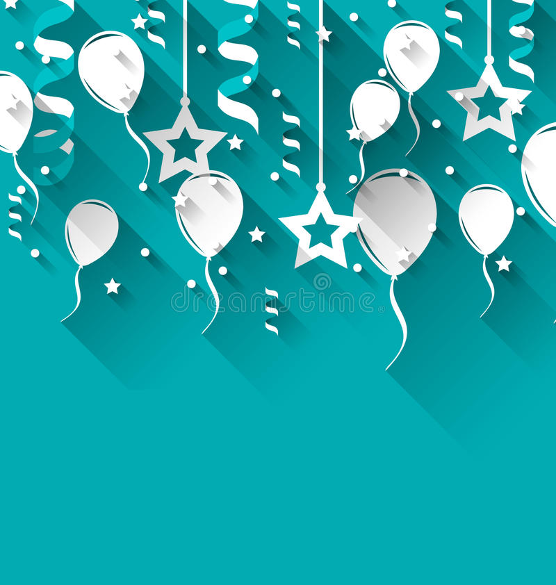 Υπόβαθρο γενεθλίων με τα μπαλόνια, τα αστέρια και το κομφετί, καθιερώνον τη μόδα ΛΦ διανυσματική απεικόνιση