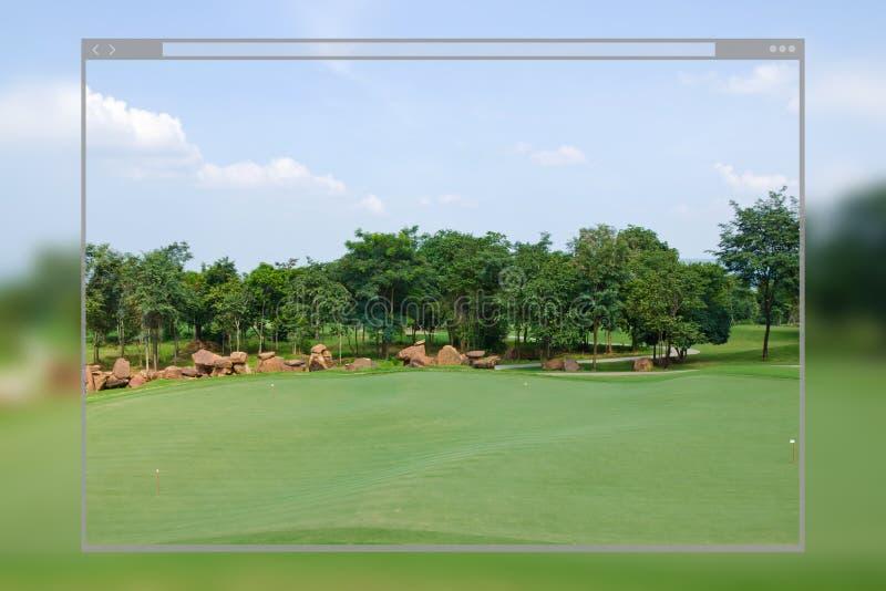 Υπόβαθρο γηπέδων του γκολφ έννοιας σχεδίου σελίδων ιστοχώρου στοκ εικόνες