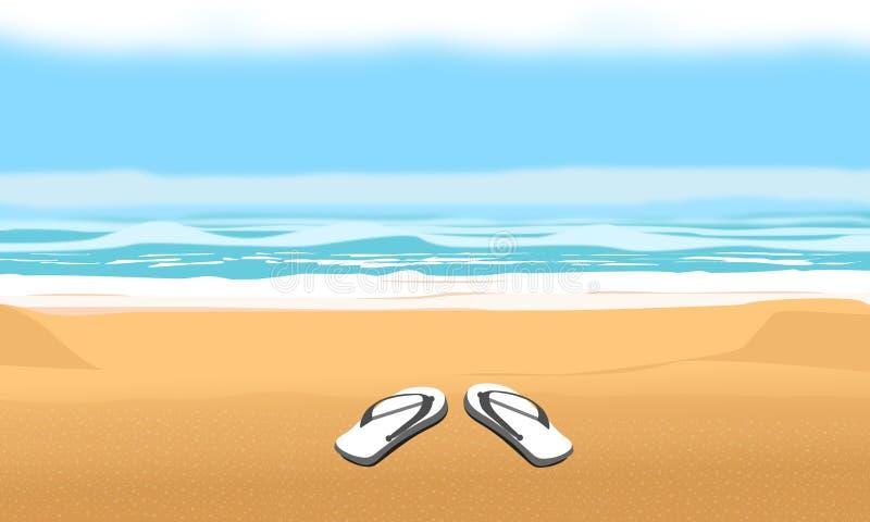 Υπόβαθρο για τη θερινές παραλία και τις διακοπές Σανδάλια στη διανυσματική απεικόνιση σχεδίου άμμου ελεύθερη απεικόνιση δικαιώματος