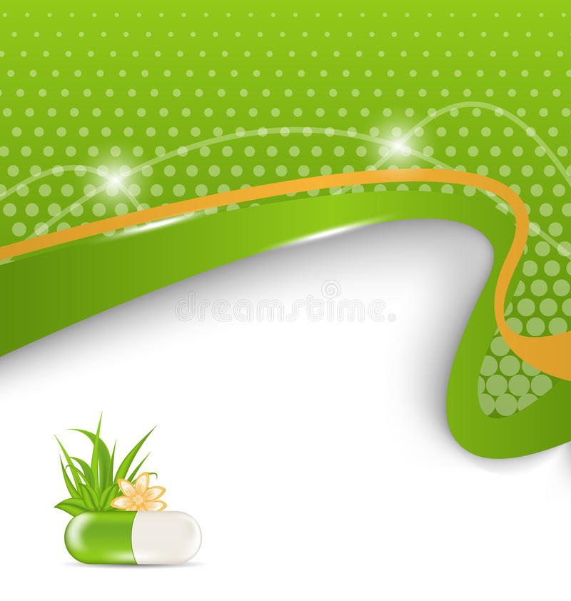 Υπόβαθρο για το ιατρικό θέμα με το πράσινο χάπι απεικόνιση αποθεμάτων