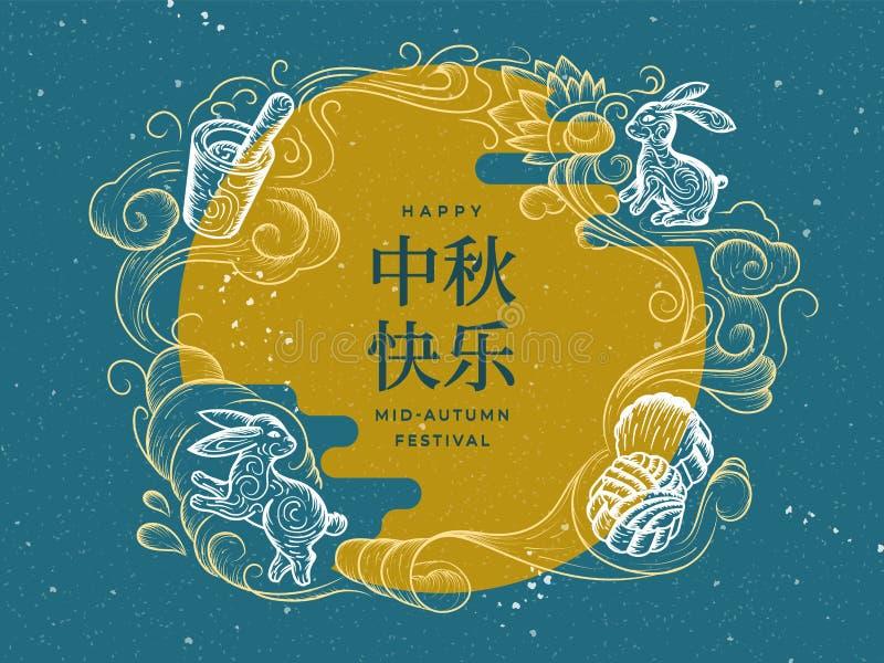 Υπόβαθρο για το μέσο φεστιβάλ φθινοπώρου Διακοπές της Κίνας διανυσματική απεικόνιση