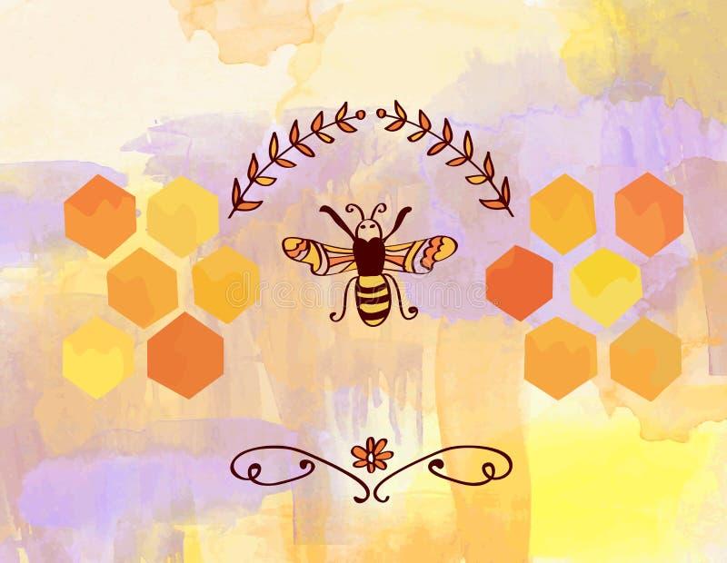 Υπόβαθρο για το μέλι με τη μέλισσα και τα κύτταρα απεικόνιση αποθεμάτων