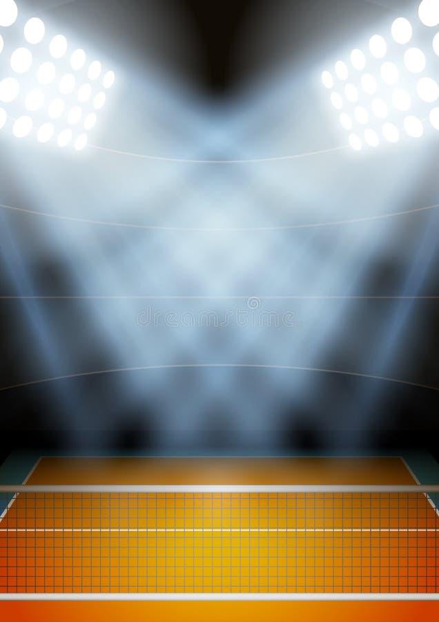 Υπόβαθρο για το στάδιο πετοσφαίρισης νύχτας αφισών μέσα διανυσματική απεικόνιση