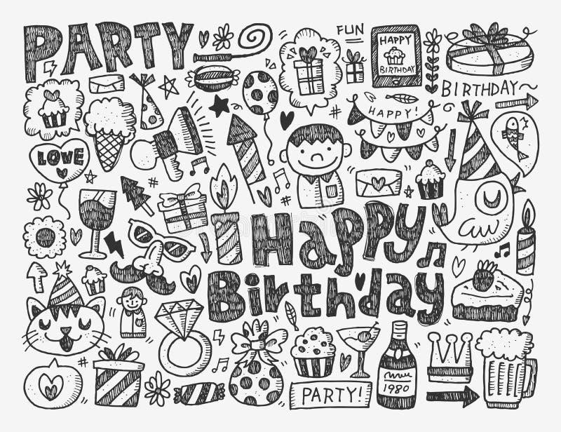 Υπόβαθρο γιορτής γενεθλίων Doodle ελεύθερη απεικόνιση δικαιώματος