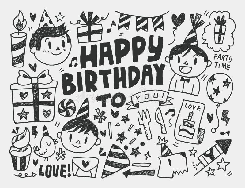 Υπόβαθρο γιορτής γενεθλίων Doodle διανυσματική απεικόνιση