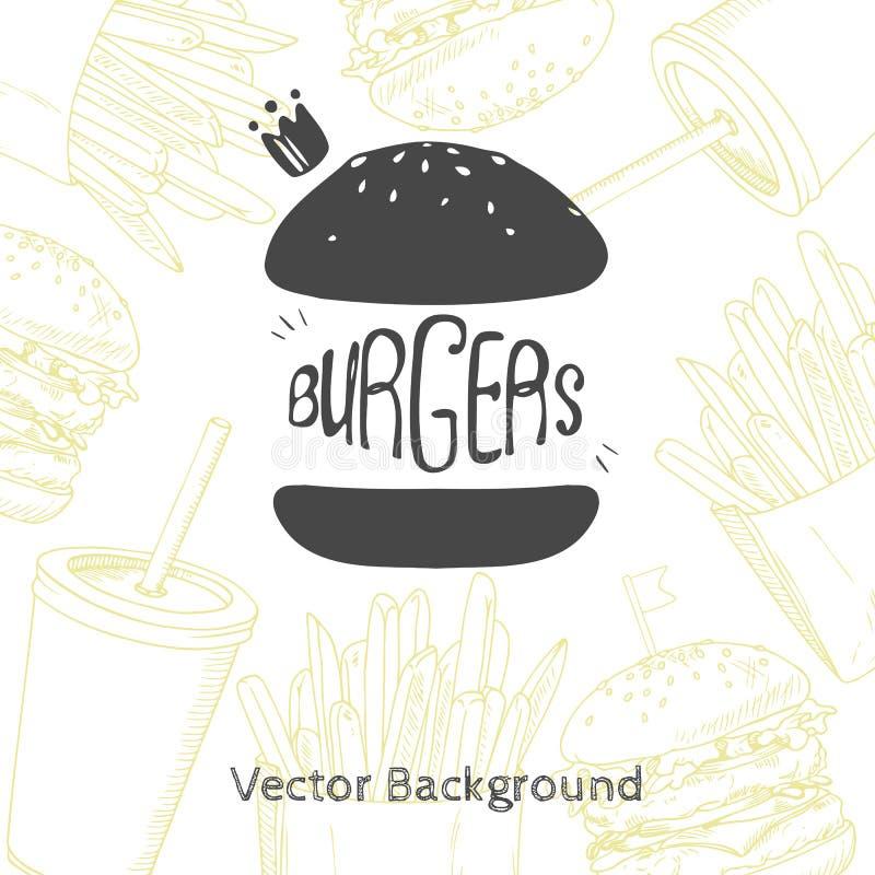 Υπόβαθρο γρήγορου φαγητού με συρμένο χέρι burger διανυσματική απεικόνιση