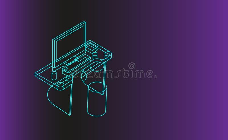 Υπόβαθρο γραφείων υπολογιστών, ψηφιακό έμβλημα τεχνολογιών, isometric γραμμική απεικόνιση έννοιας διανυσματική απεικόνιση