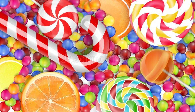 Υπόβαθρο γλυκών με μια καραμέλα σωρών διανυσματική απεικόνιση
