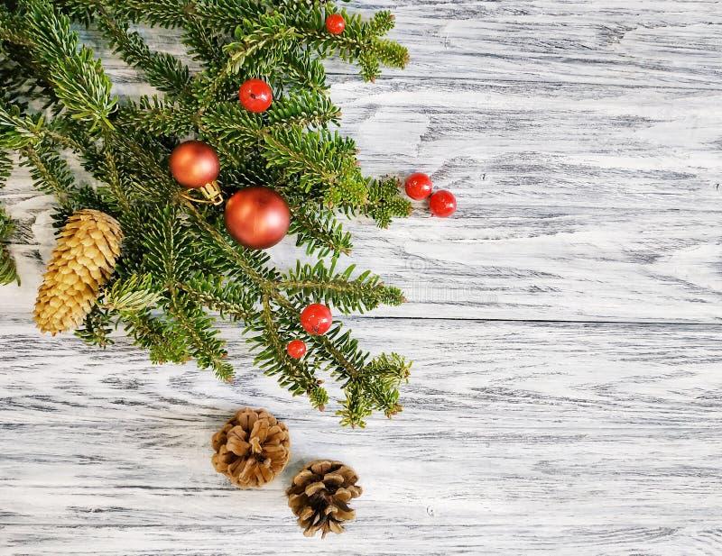 Υπόβαθρο διακοπών - ένα όμορφο χειμερινό σχέδιο με ένα πεύκο, κόκκινα σφαίρες Χριστουγέννων και χειμερινά μούρα στοκ φωτογραφία