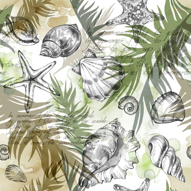 Υπόβαθρο διακοπών θερινού κόμματος, απεικόνιση watercolor Άνευ ραφής σχέδιο με τα κοχύλια θάλασσας, τα μαλάκια και τα φύλλα φοινι απεικόνιση αποθεμάτων