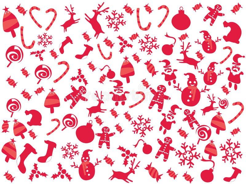Υπόβαθρο διακοπών σχεδίων Χριστουγέννων κόκκινου χρώματος Doodle διανυσματική απεικόνιση