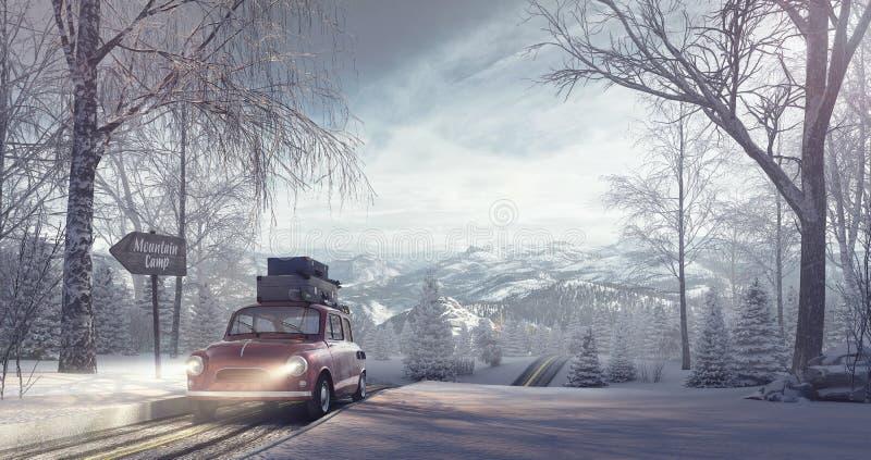Υπόβαθρο διακοπών χειμερινού ταξιδιού διανυσματική απεικόνιση