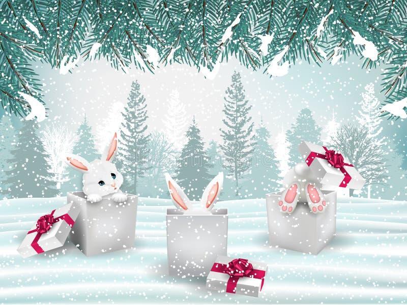 Υπόβαθρο διακοπών Χριστουγέννων με τρία λατρευτά άσπρα κουνέλια απεικόνιση αποθεμάτων