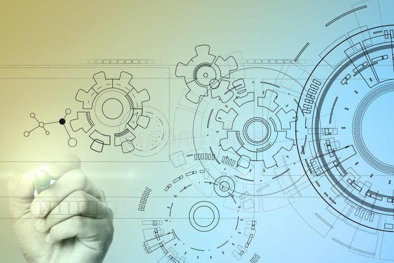 Υπόβαθρο διεπαφών τεχνολογίας με το σχέδιο εργαλείων Έννοια εφαρμοσμένης μηχανικής, επιχειρήσεων, ανάπτυξης και επικοινωνίας ελεύθερη απεικόνιση δικαιώματος