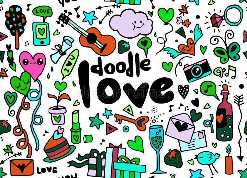 Υπόβαθρο εγγραφής χεριών αγάπης και doodles σκίτσων στοιχείων ραφή απεικόνιση αποθεμάτων