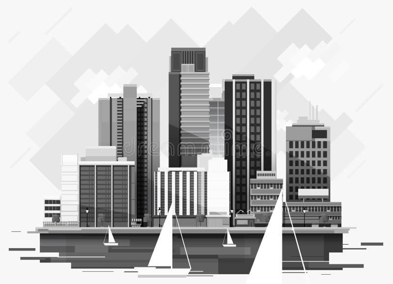 Υπόβαθρο εικονικής παράστασης πόλης για το σχέδιό σας, αστική τέχνη ελεύθερη απεικόνιση δικαιώματος
