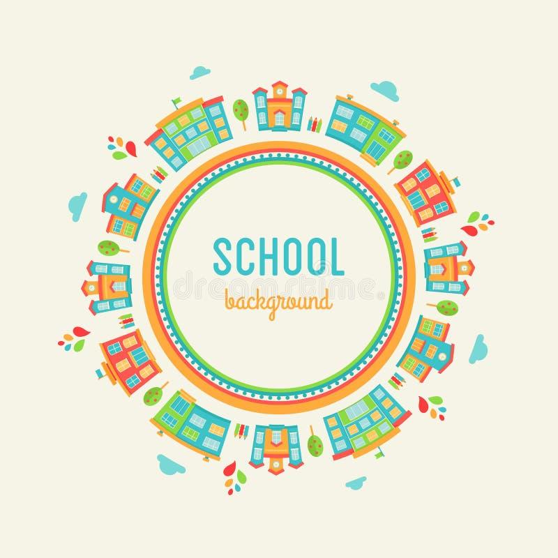 Υπόβαθρο εκπαίδευσης παιδικών σταθμών και σχολείου Στρογγυλό σημάδι φιαγμένο από σχολικά κτίρια ελεύθερη απεικόνιση δικαιώματος