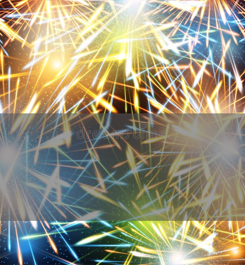 Υπόβαθρο εκρήξεων πυροτεχνημάτων στη ευχετήρια κάρτα στο κενό καλής χρονιάς απεικόνιση αποθεμάτων