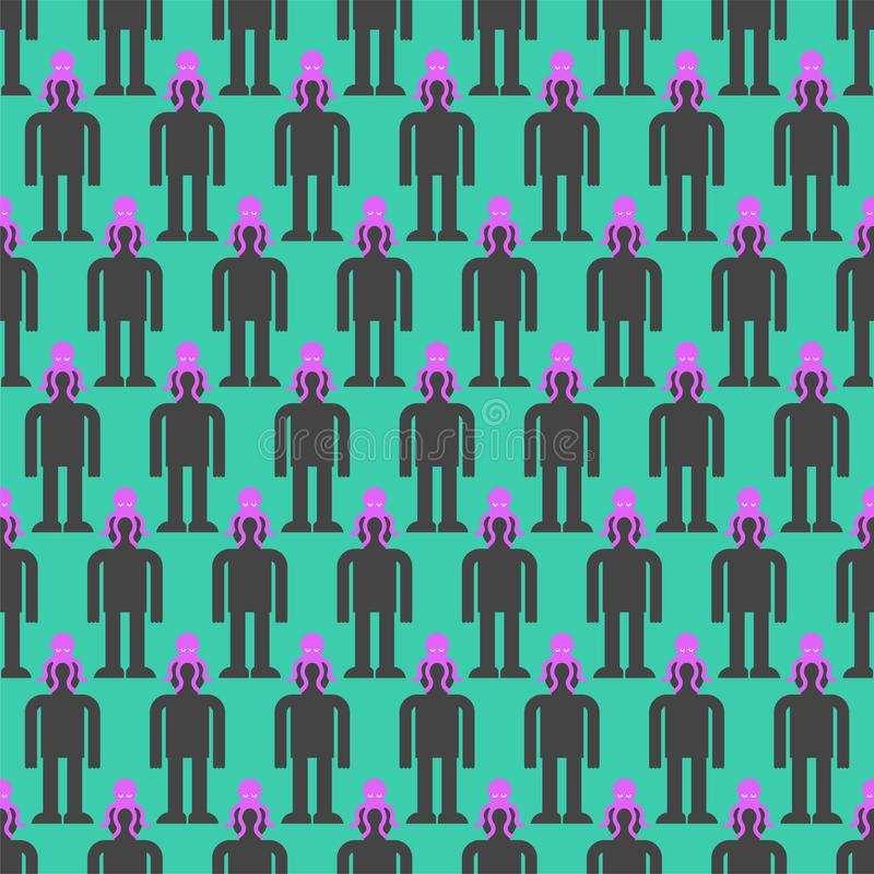 Υπόβαθρο ελέγχου μυαλού Αλλοδαπό χταπόδι στο επικεφαλής σχέδιο άνευ ραφής Διαχείριση αλλοδαπών τεράτων της ανθρώπινης συνείδησης ελεύθερη απεικόνιση δικαιώματος