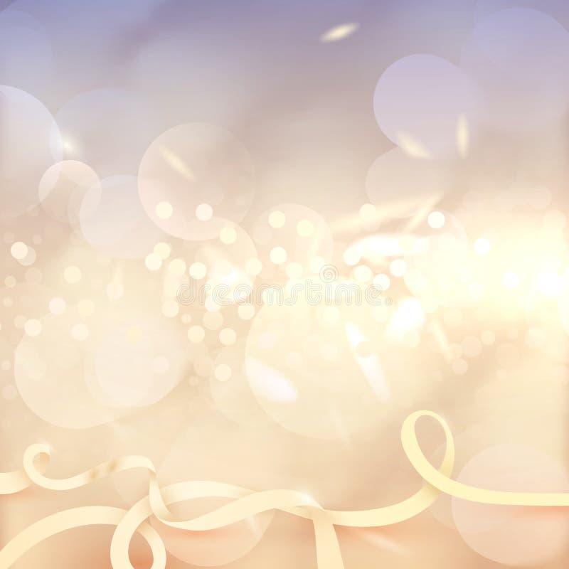 Υπόβαθρο επίδρασης Bokeh Πολλά φω'τα Αφηρημένη χρυσή φωτεινή ΤΣΕ διανυσματική απεικόνιση
