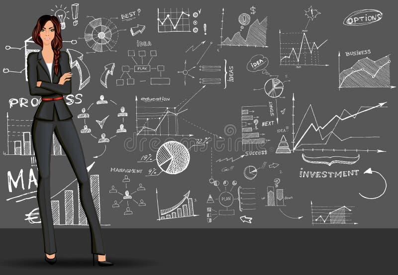 Υπόβαθρο επιχειρησιακών γυναικών doodle απεικόνιση αποθεμάτων