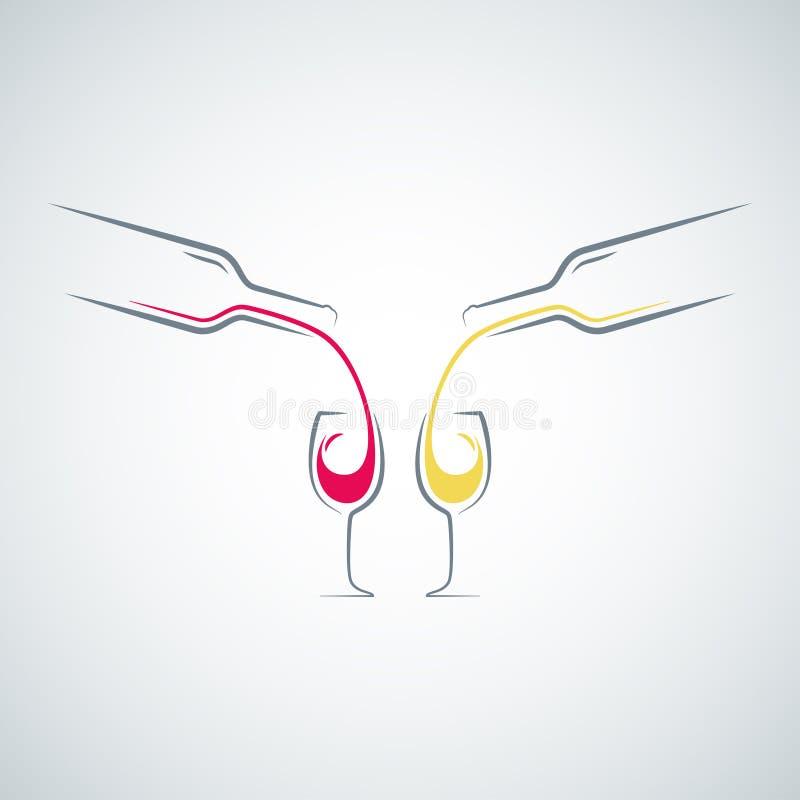 Υπόβαθρο επιλογών έννοιας μπουκαλιών γυαλιού κρασιού απεικόνιση αποθεμάτων