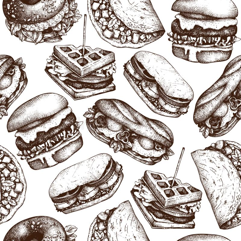Υπόβαθρο εστιατορίων γρήγορου φαγητού Άνευ ραφής σχέδιο με συρμένα τα χέρι burgers, tacos, σάντουιτς, βάφλες, bagles σκίτσα Εκλεκ απεικόνιση αποθεμάτων