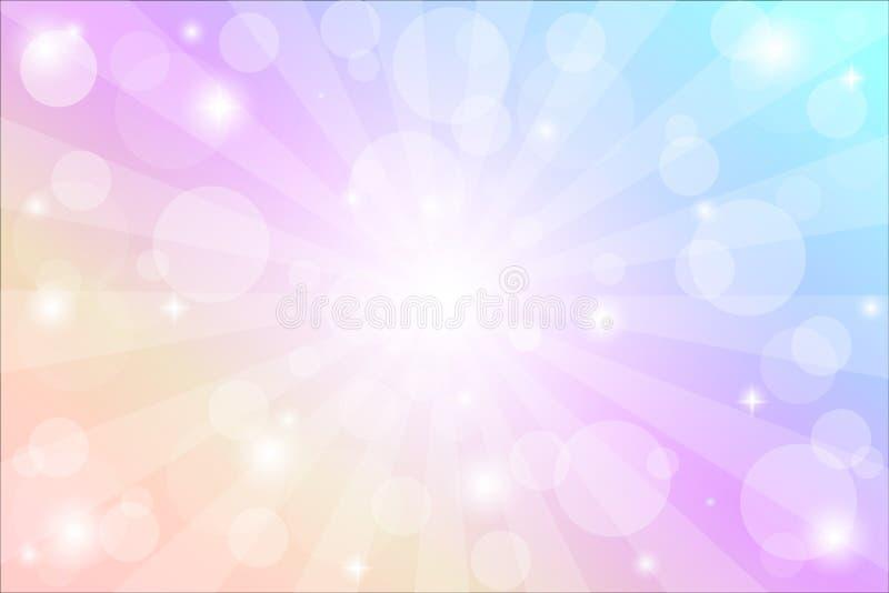 Υπόβαθρο ηλιοφάνειας με τα σπινθηρίσματα και ακτίνες, διανυσματική απεικόνιση με τα φω'τα bokeh στοκ εικόνα