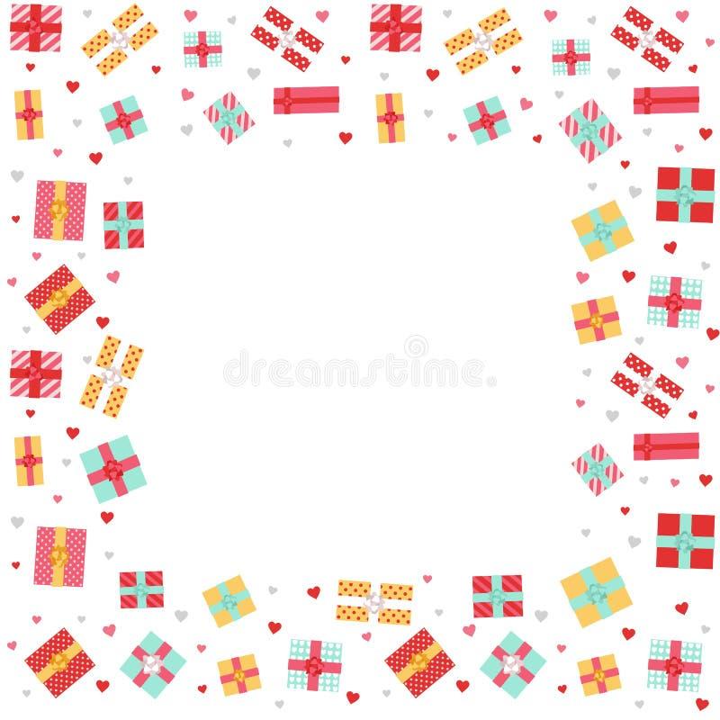 Υπόβαθρο ημέρας βαλεντίνου με τα κιβώτια δώρων για το σχέδιο Ιστού, έμβλημα, αφίσα, σχέδιο καρτών απεικόνιση αποθεμάτων