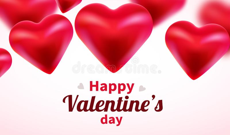 Υπόβαθρο ημέρας βαλεντίνων με τις κόκκινες τρισδιάστατες καρδιές Χαριτωμένη έμβλημα ή ευχετήρια κάρτα αγάπης r Ευτυχής ημέρα βαλε διανυσματική απεικόνιση