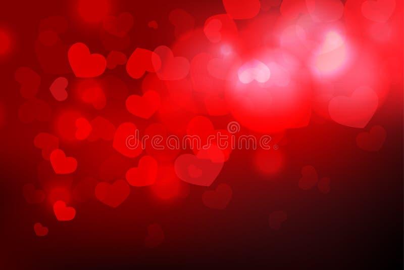 Υπόβαθρο ημέρας βαλεντίνων ` s με τη μορφή και το φως καρδιών bokeh στο δ διανυσματική απεικόνιση