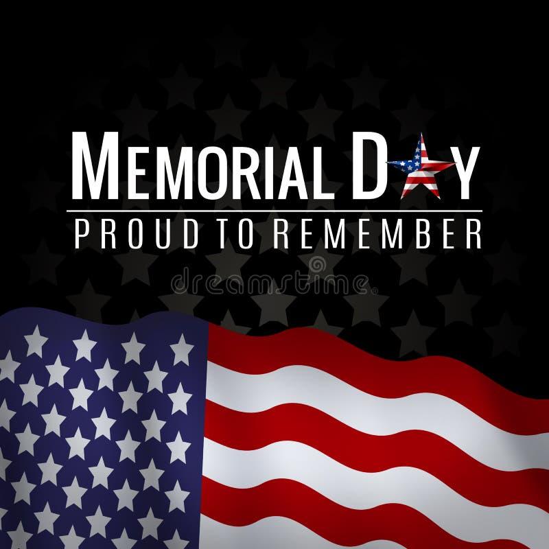 Υπόβαθρο ημέρας μνήμης με την αμερικανικά εθνική σημαία, τα αστέρια και τα λωρίδες Πρότυπο για την πρόσκληση ημέρας μνήμης, χαιρε στοκ φωτογραφία