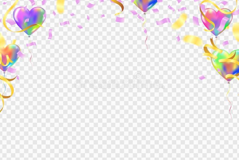 Υπόβαθρο ημέρας μπαλονιών καρδιών και βαλεντίνων μπαλονιών για postcar διανυσματική απεικόνιση