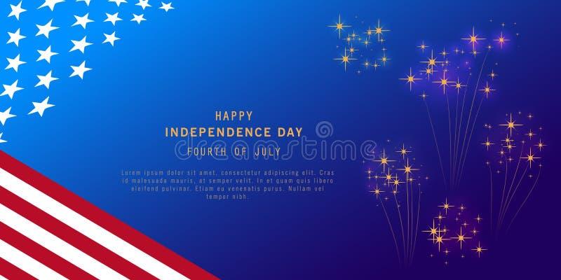 Υπόβαθρο ημέρας της ανεξαρτησίας με τη σημαία πυροτεχνημάτων και των ΗΠΑ Τέταρτο του εμβλήματος εορτασμού Ιουλίου, αφίσα, ιπτάμεν απεικόνιση αποθεμάτων