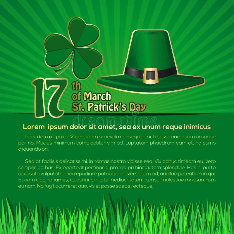 Υπόβαθρο ημέρας του ST Patricks με το διάστημα για το κείμενο 17 Μαρτίου διανυσματική απεικόνιση