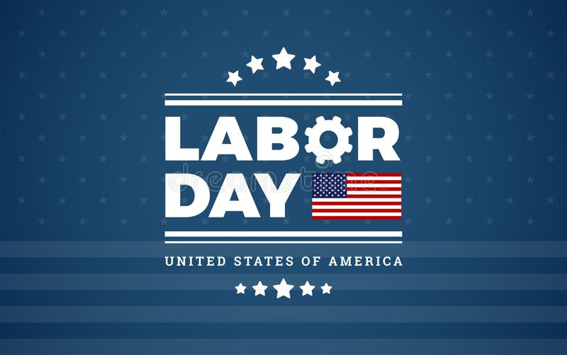 Υπόβαθρο ΗΠΑ λογότυπων Εργατικής Ημέρας - μπλε αστέρια υποβάθρου W, λωρίδα απεικόνιση αποθεμάτων