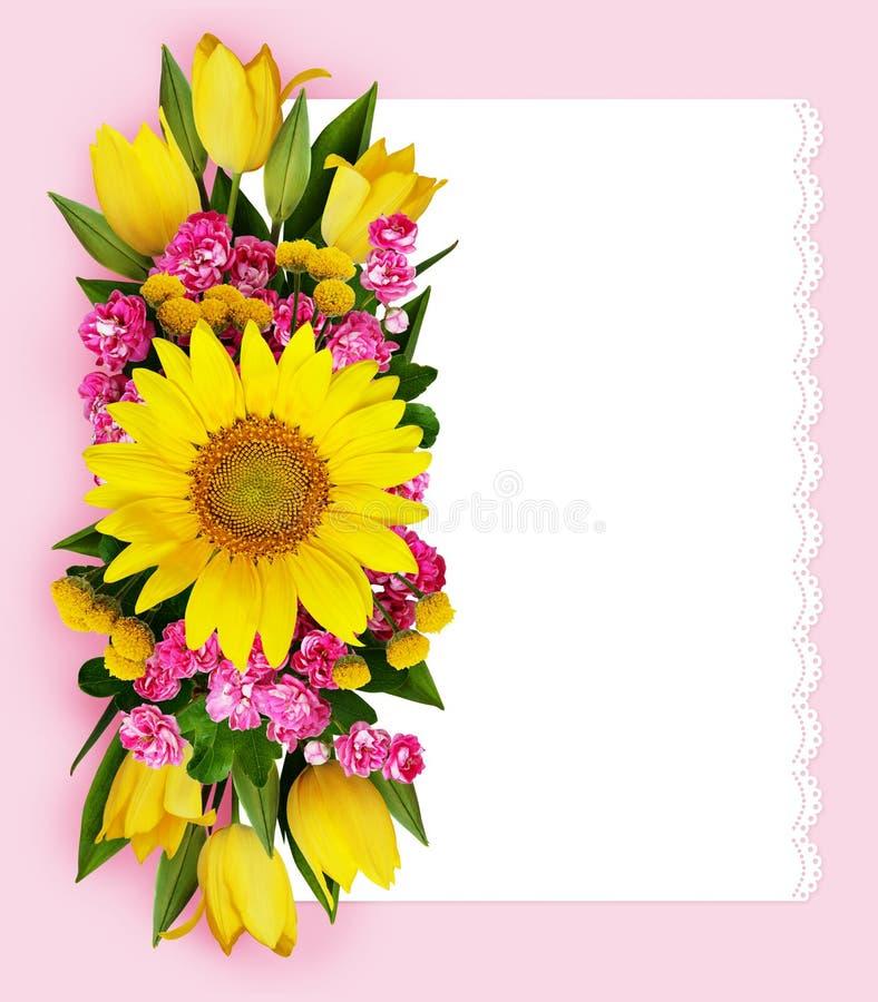 Υπόβαθρο ηλίανθων, τουλιπών και hawtorn λουλουδιών διανυσματική απεικόνιση