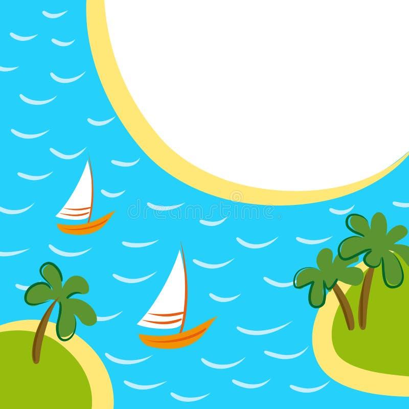 Υπόβαθρο θάλασσας με δύο βάρκες μεταξύ των νησιών ελεύθερη απεικόνιση δικαιώματος