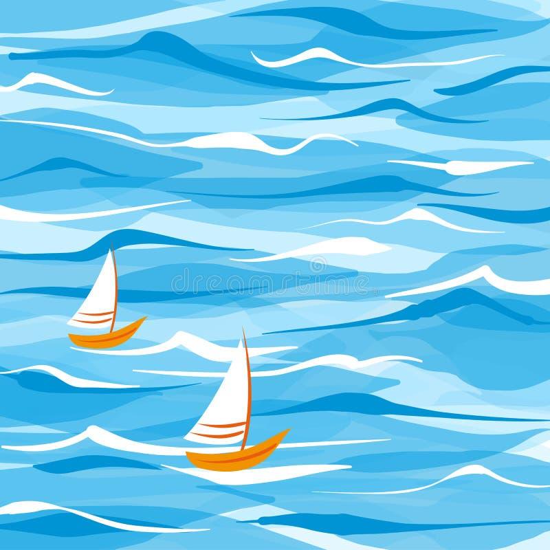 Υπόβαθρο θάλασσας με δύο βάρκες διανυσματική απεικόνιση