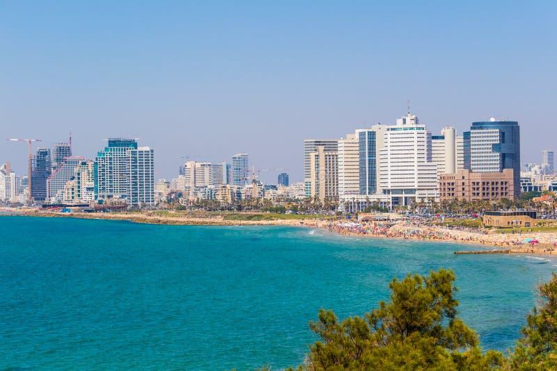 Υπόβαθρο θάλασσας του Τελ Αβίβ των κτηρίων και των διαμερισμάτων στοκ εικόνα με δικαίωμα ελεύθερης χρήσης