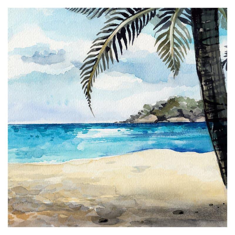 Υπόβαθρο θάλασσας Watercolor διανυσματική απεικόνιση