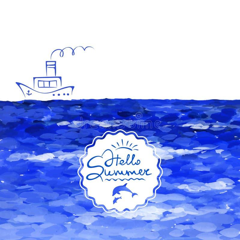 Υπόβαθρο - θάλασσα και ατμόπλοιο απεικόνιση αποθεμάτων